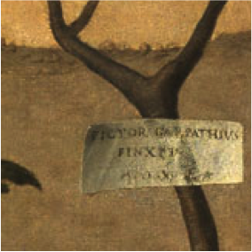 "Detail from Carpaccio's Young Knight in a Landscape showing signed ""cartellino"""