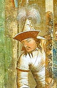 Mongol commander of a thousand troops, in Ambrogio Lorenzetti's Martyrdom of the Franciscans, 1330.